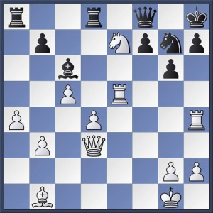 White to play. Shapland vs. Nicholson, Round 5