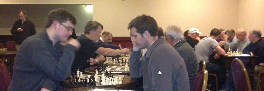 Matthew Parsons of Hebden Bridge 'A' (left) and Nigel Hepworth playing for Belgrave (right) battle out in the final round of the competition
