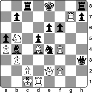 February: Dickinson vs. Corbett — Calderdale League 2. After 22.Rxg7 by White ... Qxb3 looks like a very strong response for Black. It didn't turn out well in the game. Why not? Solution in the viewer below