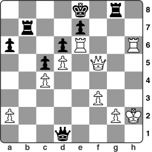 February: Ursal vs. Burke — Calderdale Individual R4. Black's just played 45… Rg8 and White, in time trouble, missed his chance to win the game. How should he have proceeded?