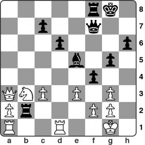 April: Tooley vs. Shapland — Calderdale League 1. White has just played 22.Qa3 and in the game Black replied by sacrificing his rook on f2. Is this sound? Try and calculate all of the critical lines. See game viewer for the solution.