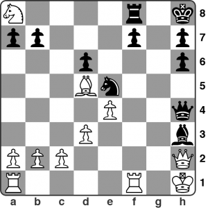 April: Syrett vs. Webster — Calderdale League 1. This was a really crazy game! Black, having just played 17… Bh3 is threatening to play Ng4 next move. This looks dangerous. How should White respond? Solution in the game viewer below.