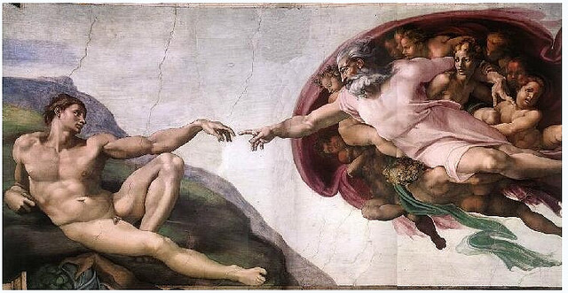 God initiates he ultimate 'kick-off' in this famous Sistene Chapel painting. Photo sourced from ideacreamanuelaPps Flickr photo stream