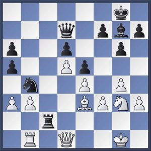 This position featured in a variation from the game Clarkson vs. Shapland in Hebden Bridge 'A's match with Todmorden 'A'. Black seems to be in big trouble with his knight and rook attacked. Is there any hope for him? What's the best move? Solution in the game viewer at the end of the post. This one's tough and neither player saw it during the game.