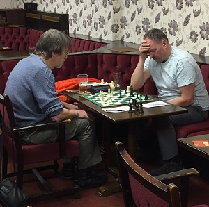 Pete Leonard (left) was made to work extremely hard for his decisive win against John Morgan on board 4.