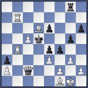 Hunter vs Leonard. Black has just played 44...f4? which unfortunately allows an attractive check mate. How long will it take you to spot it?