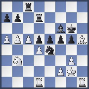 Here's an arresting position from the game between Robert Broadbent (Brighouse) and Phil Cook (Golden Lion). White has just played 39.Bh5+. Look at the fully-loaded fifth rank! The game ended in a draw and you can see it all in the game viewer at the end of this post.