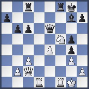 White to play from Velosa vs. Swain (Hebden Bridge 'A' vs Halifax 'A') Black has grabbed a hot pawn. Can you see how White took advantage to press home the attack? Answer in the game viewer at the end of this post.