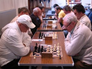 Dave (left) in action at the Brighouse Rapidplay in 2011.