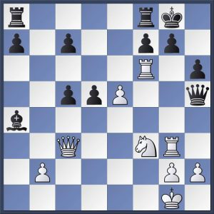 An interesting position from Shapland vs. Scurfield in the Halifax 'A vs. Golden Lion match. It's White's move and he appears to have an over whelming attack. However, precision is still required. How would you proceed? Find the solution and the game continuation in the game viewer at the end of this post.