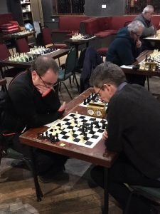 Just as they did last year, Dave Shapland and Phil Cook faced each other in Round 4 of the Calderdale Individual Championship. The result of the game was the same as last season too! [Photo: Matthew Parsons]