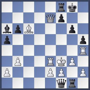 Hillarp Persson vs. Laurusas. White to move. Black has just played Qf1 threatening to pick up the bishop after Qg2+ next. Can you see how the legendary attacker Tiger Hillarp Persson concluded the game with White here.